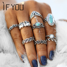 IF YOU 9PCs/Set Vintage Natural Stone Mixed Midi Knuckle Rings Set For Women Anel Boho Elephant Turkish Finger Ring Jewelry Gift