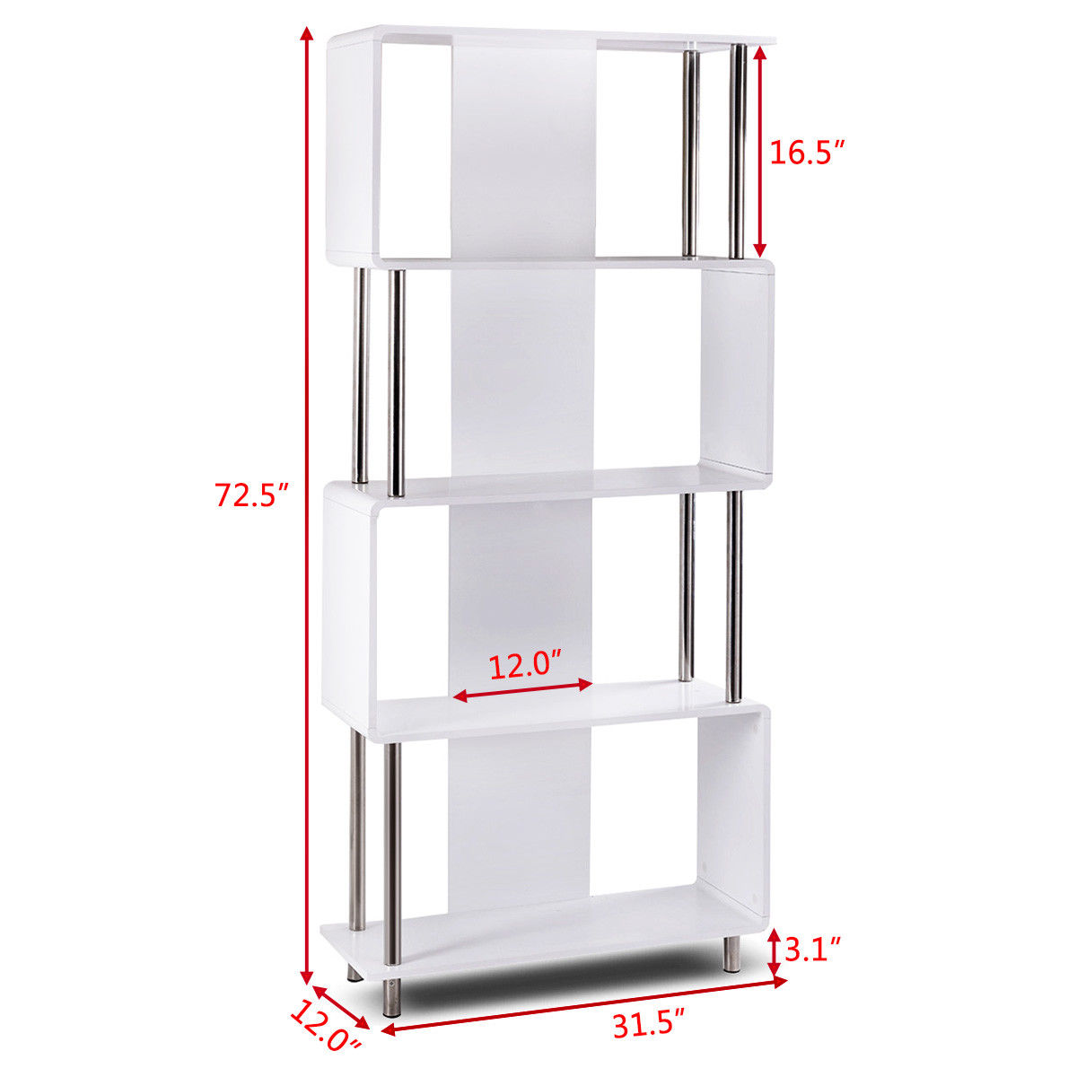 Giantex Industrial Style 4 Shelf Modern Bookcase Living Room Storage Display  Unit Bookshelf White Home Furniture HW56698 In Bookcases From Furniture On  ...