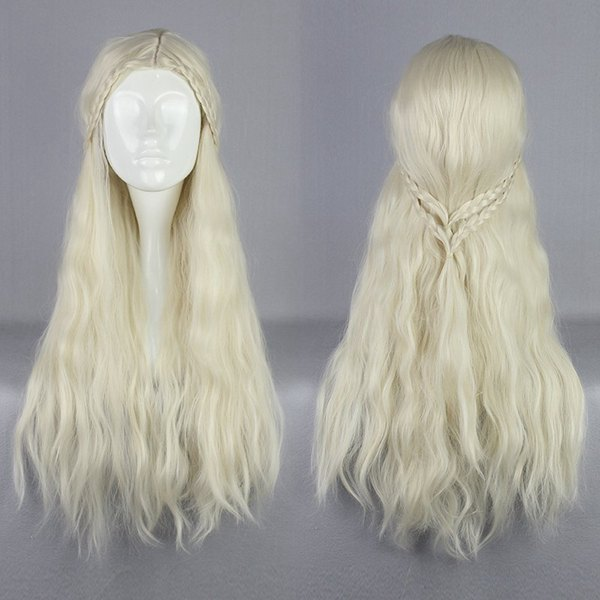 MCOSER Supreme Halloween Synthetic 75cm Long Curly Beige Game of Thrones Daenerys Targaryen Cosplay Wig