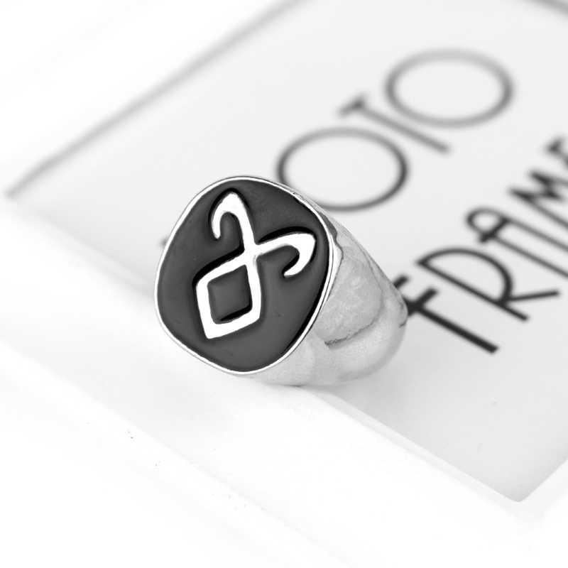 นครรัตติกาลเมืองกระดูกAngelic Runeพลังงานแหวนเงินแหวนเคลือบสีดำแหวนหมั้นงานแต่งงานขนาด7-11