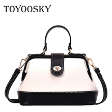 TOYOOSKY Women Handbag PU Leather Shoulder Bag Female Panelled Doctor Crossbody Casual Famous Brand Small Bags