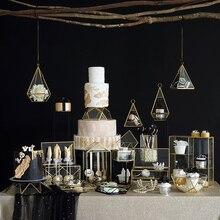 SWEETGO многоугольная стеклянная коробка для торта, настольные держатели для хранения, стойки для десертов, латунные края, коробки для демонстрации ювелирных изделий, лотки