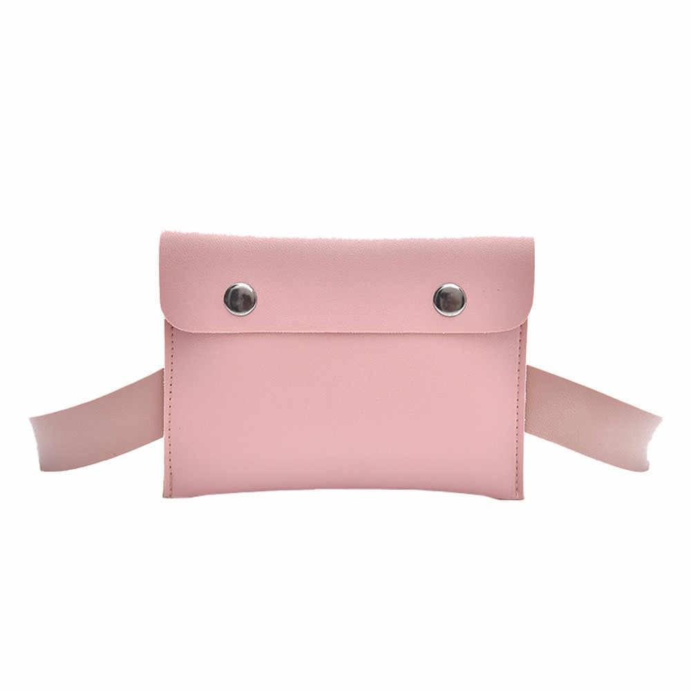 Bolsas de cintura para mujeres moda mujer Color puro Hasp Pu cuero mensajero divertido paquete pecho bolsa cinturón duradero paquetes # S