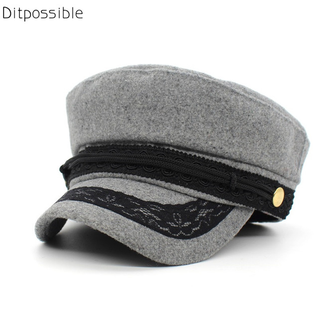 4d76d3563978a Ditpossible fashion lace hats girls military hats women ladies hat wool  cotton hat black gray navy
