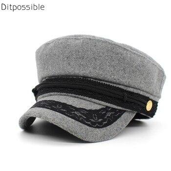 Ditpossible moda encaje sombreros niñas sombreros militares las señoras sombrero  lana sombrero del algodón negro gris marino fda5263936a