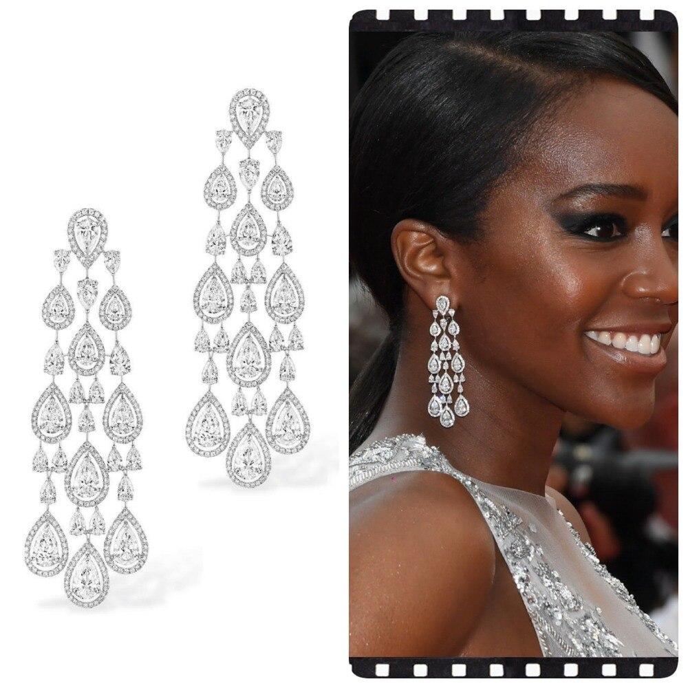 GODKI Trendy Celebrity Favorite Cubic Zirconia Women Drop Dangle Earrings for Wedding Tassel Earrings pendientes mujer mod 2018-in Drop Earrings from Jewelry & Accessories