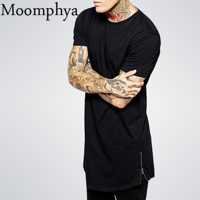 Moomphya Long Black Mens Tops T Shirt Short Sleeve Casual T-Shirt With Zip Hip Hop Sale T Shirt Fashion street-wear Shirt dance