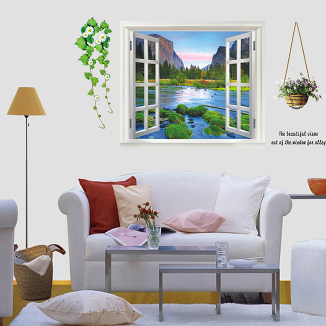 Kids Bedroom Background aliexpress : buy mountain stream 3d view window decal livng