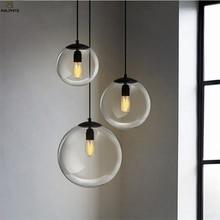 Nordic Glass Pendant Lamp Modern Led Living Room Bedroom Lights Restaurant Black Industrial Decor Luminaire