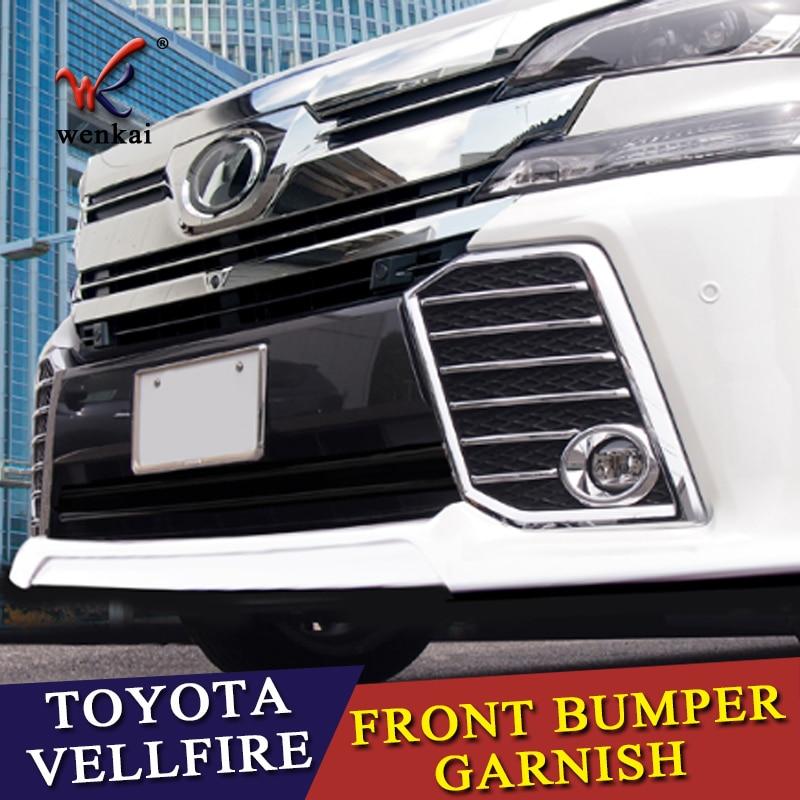 Front Chrome Fog Light Cover Strip For Toyota VELLFIRE 2015 2016 2017 Front Bumper Garnish Accessories Trim car-styling car front fog light eyebrow trim bumper sticker garnish decoration strips car styling for mazda cx 5 cx5 2017 2018 kf