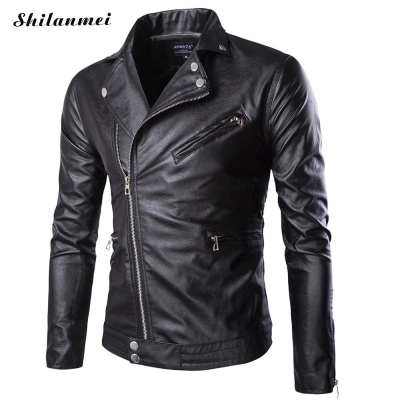 2018 Autumn Winter Casual Zipper PU Leather Jacket Motorcycle Leather Jacket Men lapel collar Slim Fit Mens Jackets And Coats