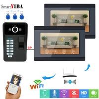 SmartYIBA Fingerprint RFID Password 7 Inch LCD Wifi Wireless Video Door Phone Doorbell Intercom KIT With 2 Monitor(1 wireless)