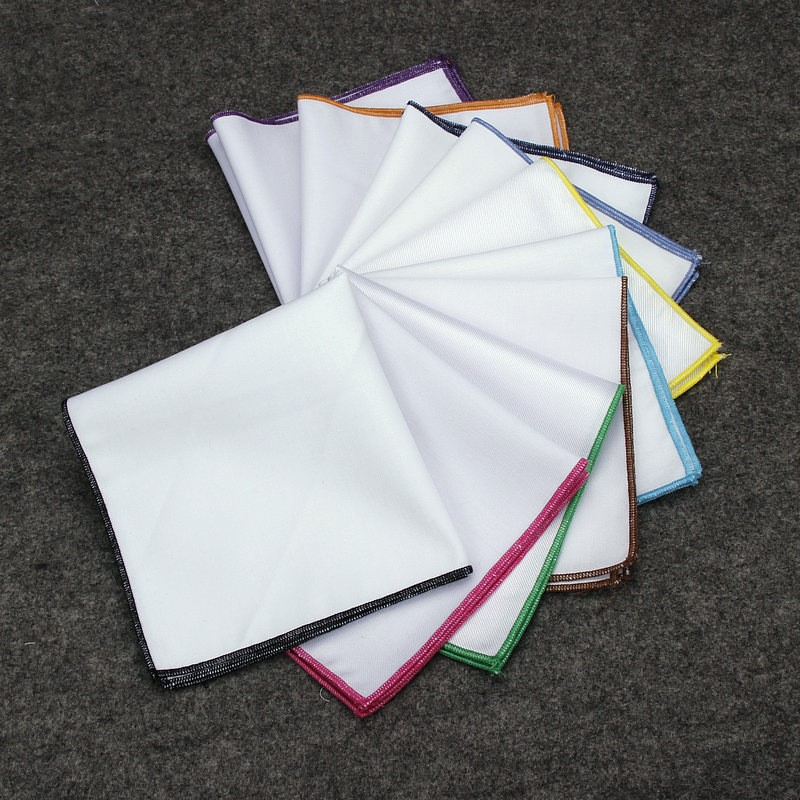 10pcs/lot Wholesale White High Quality Textured Pocket Square Solid Color Handkerchief 12 Colors Cotton Hanky For Men Wedding