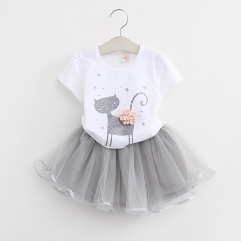 2pcs Baby Girl Set 2-6 Years Summer Clothes Set Cotton Cartoon Cat T-shirt+ Mesh Skirt Kids Clothing KF529
