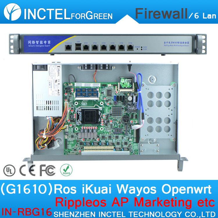 ROS 6 Gigabit flow control wireless mikrotik with G1610 cpu 1000M 6 82574l model number IN-RBG16 network routers with 6 intel pci e 1000m 82574l gigabit lan intel dual core i3 3220 3240 3 3ghz with mikrotik ros 2g ram 32g ssd