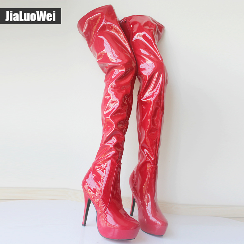 Jialuowei ultra 15CM high heel Classical Women Crotch High Boots over the knee Platform Round Toe