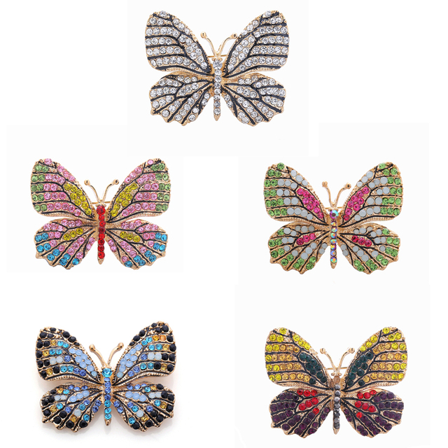 OneckOha Fashion Jewelry Colorful Rhinestone Butterfly Brooches Alloy Enameled Animal Brooch Pin Apparel Accessories
