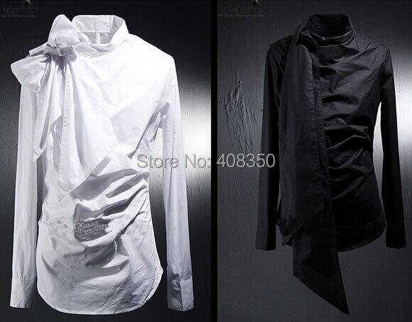 Vintage Tuxedo Dress Shirts Mens Fashion Bowknot Long Sleeve Designer Brand White Black Shirt Chemise Homme 2015 New  (5).jpg