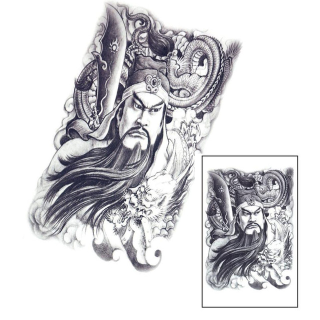 1pcs Large Sketch Figure Dragon Waterproof Temporary Tattoo Design