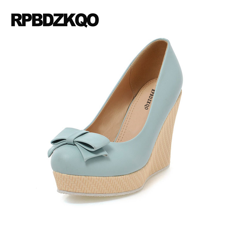 Round Toe Platform Wedges Shoes Kawaii Ladies High Heels Bow Lolita New Pumps Beige Pull On Pretty Microfiber Casual Sweet Slip black ladies cool casual pumps wedge korean slip on high heels suede creepers big size 4 34 green platform shoes round toe