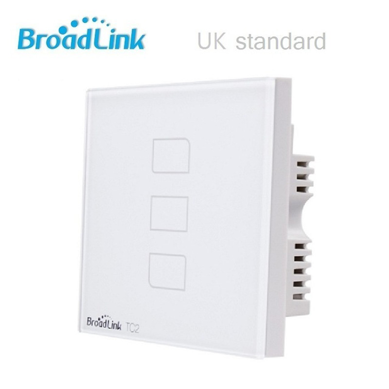 UK Standard Broadlink TC2 3 Gang Remote Control Light Switch, Wireless Control Light Switch, Wall Touch Switch For Smart Home, шорты женские love republic цвет черный 8254145704 50 размер 42