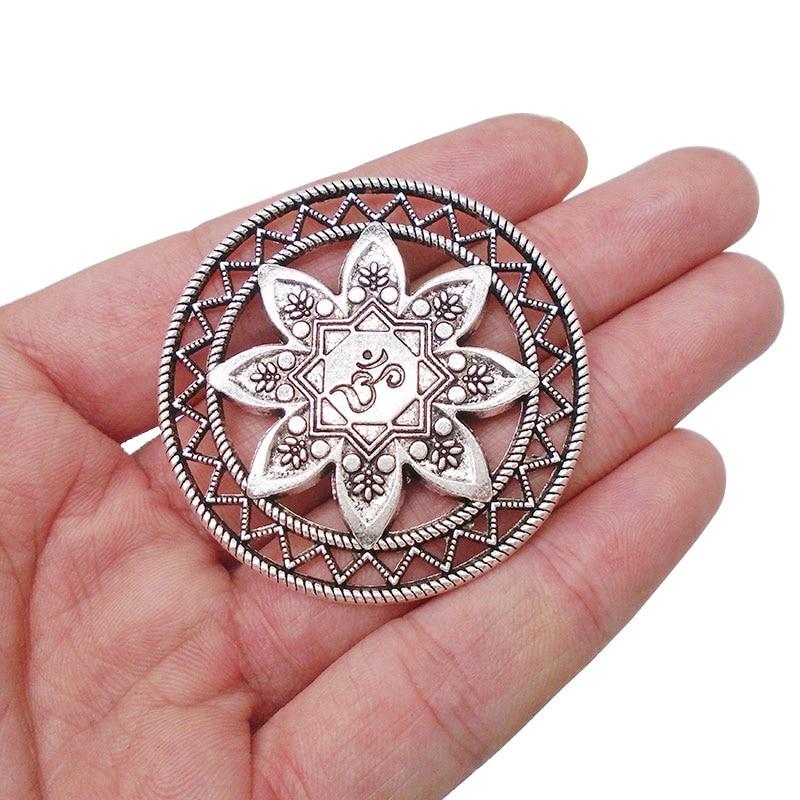@1  3 х Античное Серебро Большой Цветок Лотоса ОМ АУМ Йога Медитация Круглые Подвески Подвески Ожерелья  ①