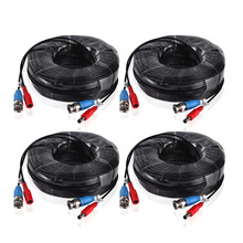 White & Black 4pcs 100ft 30M CCTV Cable BNC + DC plug cable For CCTV Surveillance Camera and DVR Kits in accessories