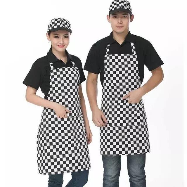 1pcs Black and white lattice vertical stripe pepper body hanging neck Western breakfast hotel cafe pastry kitchen work apron
