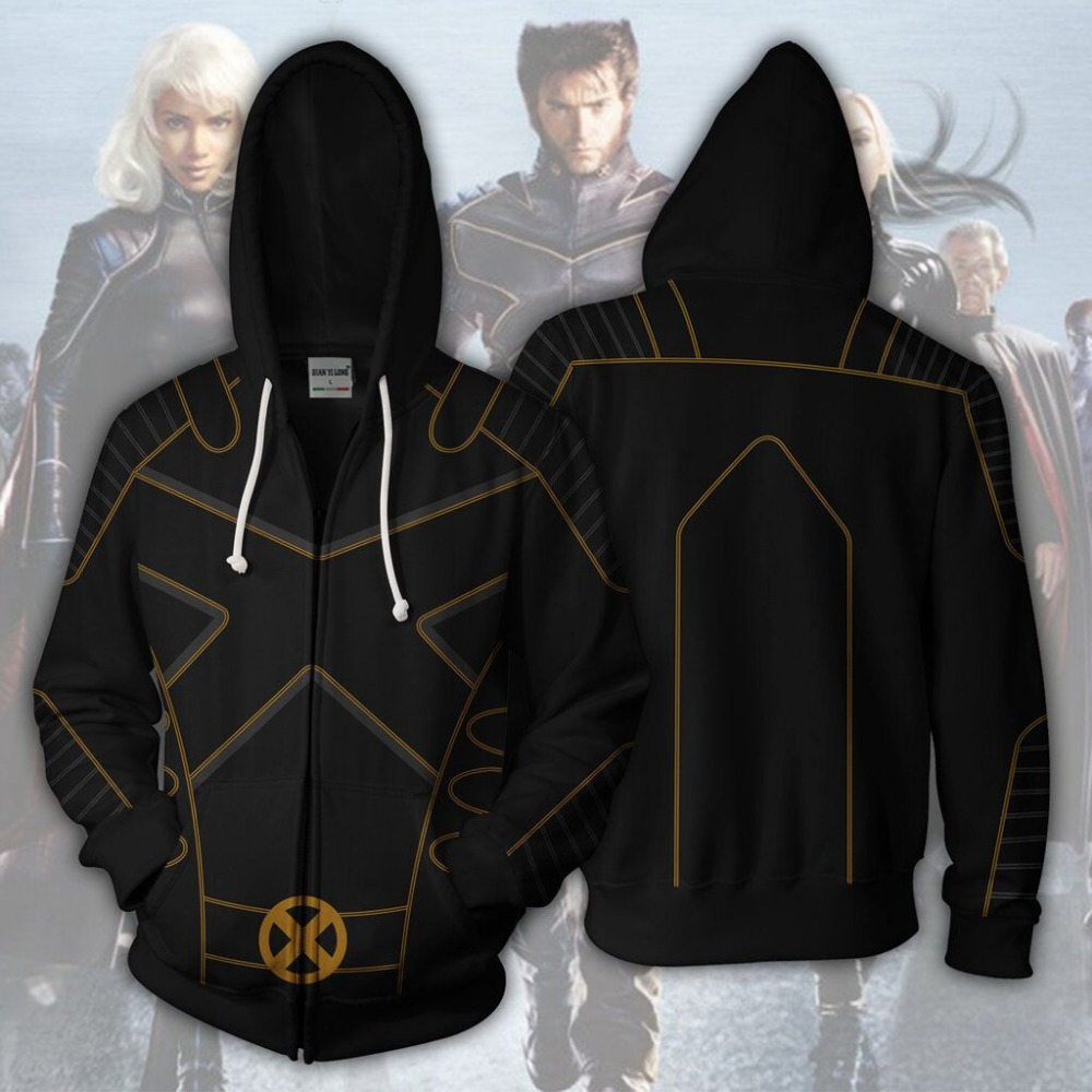 BIANYILONG 2019 new men hooded X-Men Origins 3D printed hoodies tracksuit zipper hoody hip hop tops