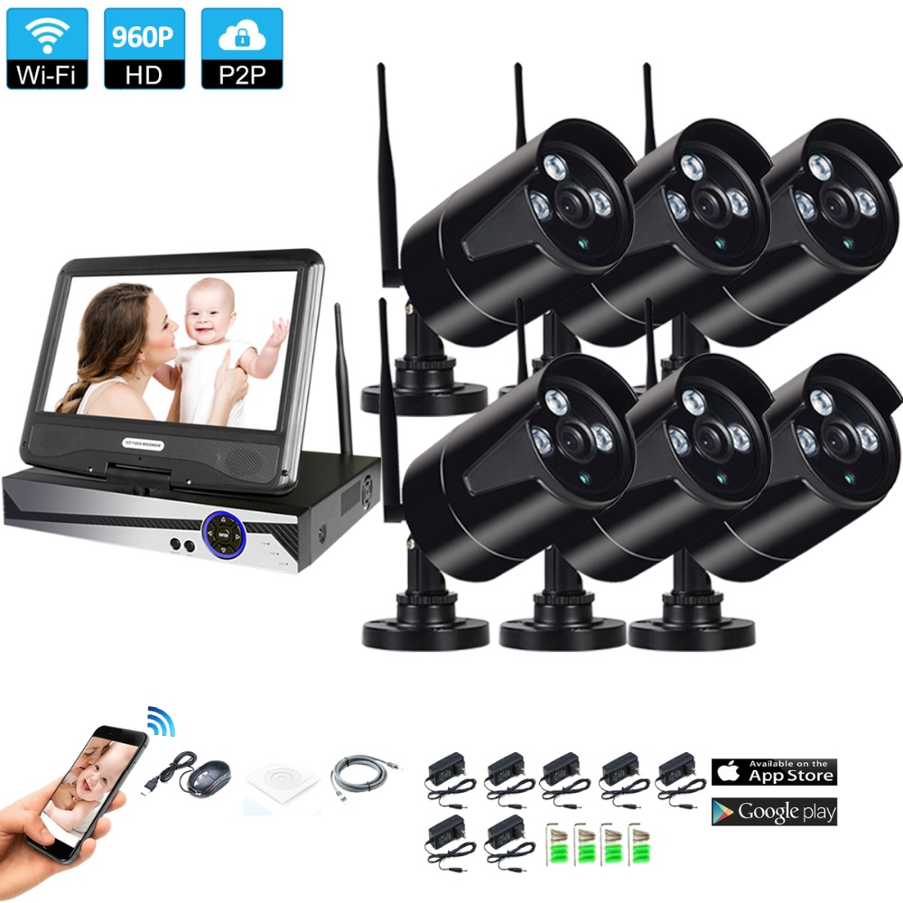 Wireless Surveillance System Network 10 1 LCD Monitor NVR Recorder Wifi Kit 6CH 960P HD Video
