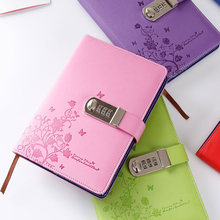 New Personal diary with lock code Leather Notebook paper 100 sheets A5  Notepad stationery Products office shool Supplies gift