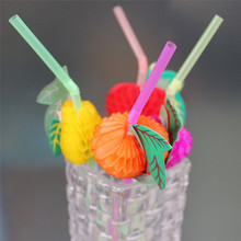 Lovely Pet 20/50/100PC Paper Fruit Drink Decoration Straws C