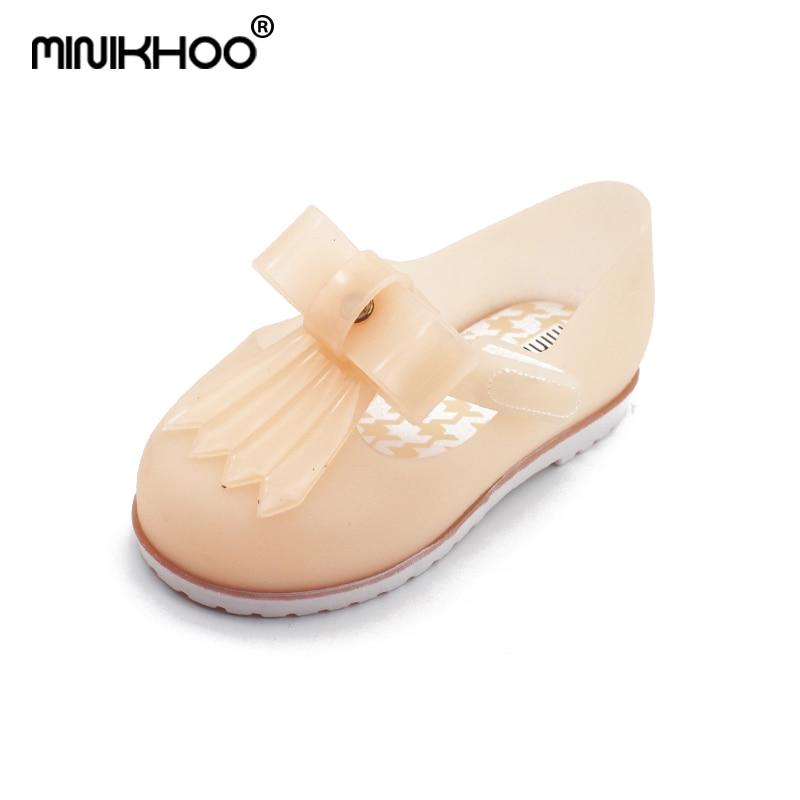 Mini Melissa Original 4 Color Bow Girl Jelly Sandals 2018 Melissa Sandals Toddler Beach Sandals Girl Water Shoes 14cm-16.5cm