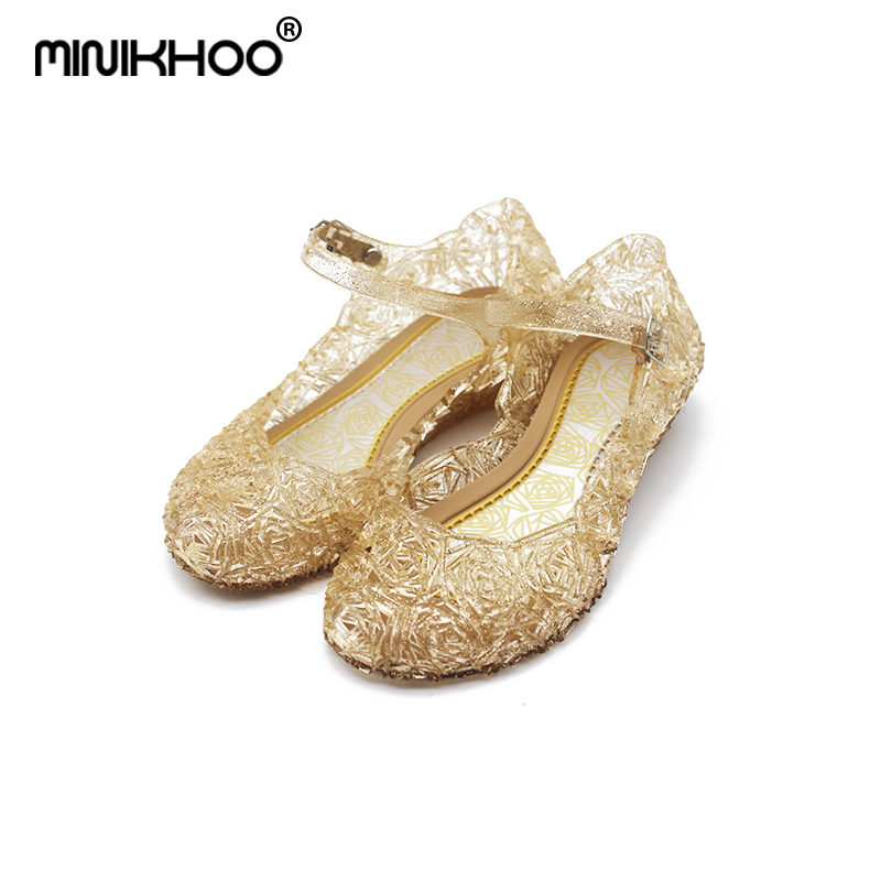 Mini Melissa 2018 New Elsa Princess Crystal Shoes Sandals Hollow Mini Melissa Jelly Sandals Melissa Baby Crystal Shoes Non-slip