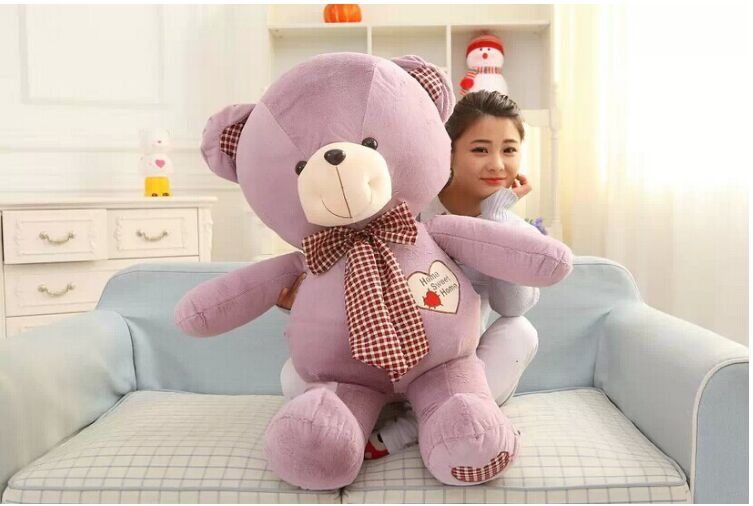 lovely huge purple teddy bear toy plush bow teddy bear heart bear doll gift about 100cm huge lovely plush teddy bear toy with blue heart and bow creative bear doll gift about 120cm