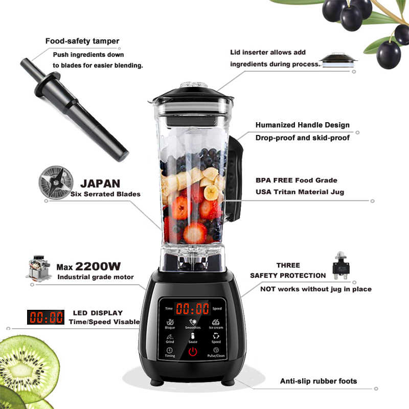 BPA FREE Digital Touchscreen Programma Automaticamente 3HP Blender Mixer Spremiagrumi Ad Alta Potenza Robot da Cucina Verde Ghiaccio Frullato
