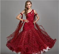 New luxury big pendulum Red Modern dance dress ballroom waltz dresses Woman Standard Competition dance dress