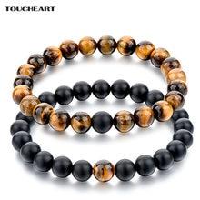 Модные браслеты toucheart с натуральным тигровым глазом и бусинами