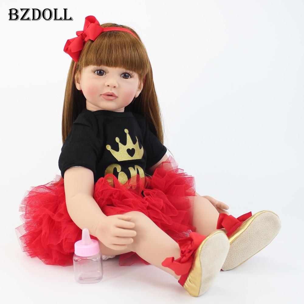 60cm Soft Silicone Reborn Baby Doll Toys 24inch Vinyl Princess Toddler Babies Girl Boneca Kid Birthday Gift Realistic Alive Bebe
