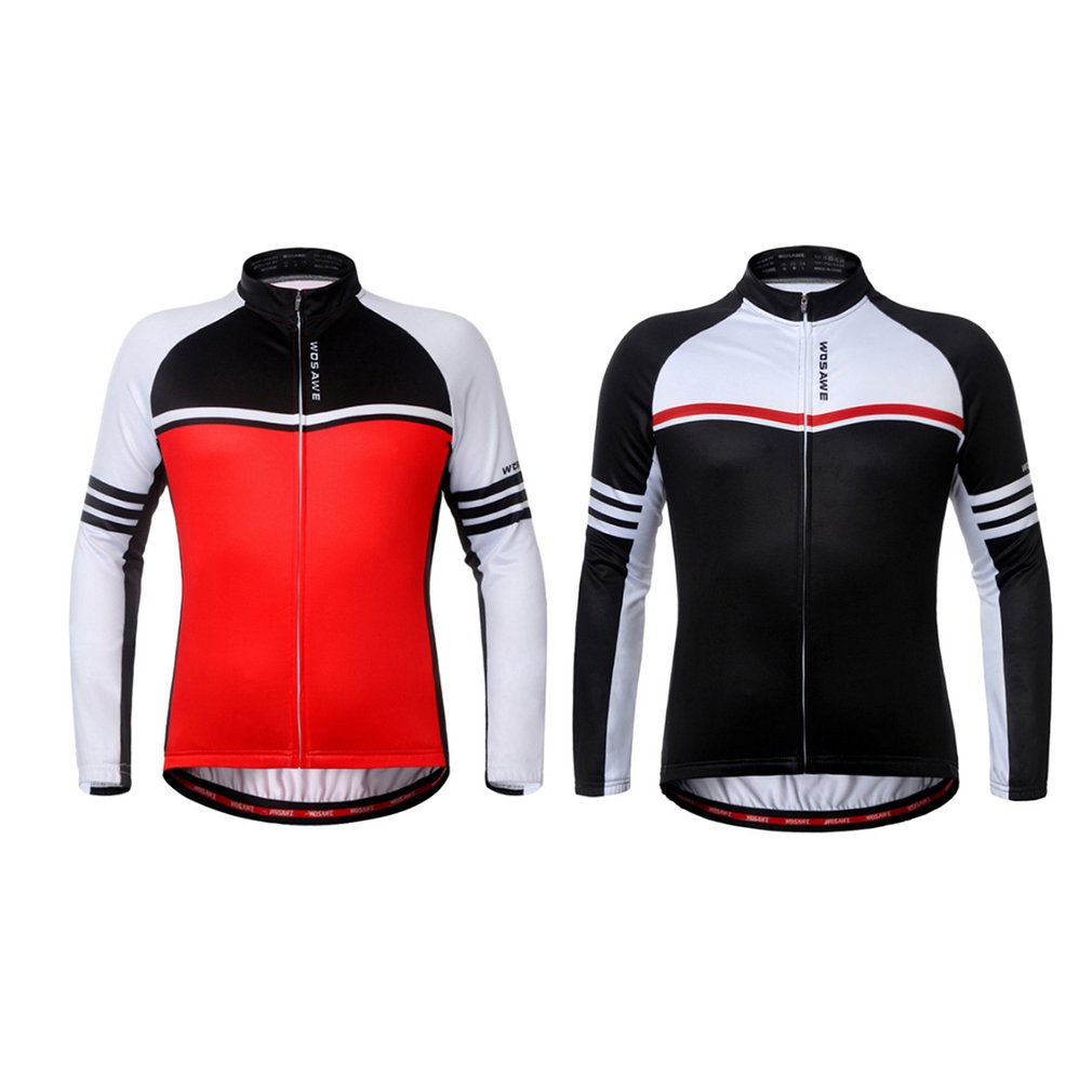 WOSAWE Elastic Fleece Warm Thermal Long Sleeve Jacket Bicycle Clothing Windproof Outdoor Sports Riding Racing Cycling Jacket