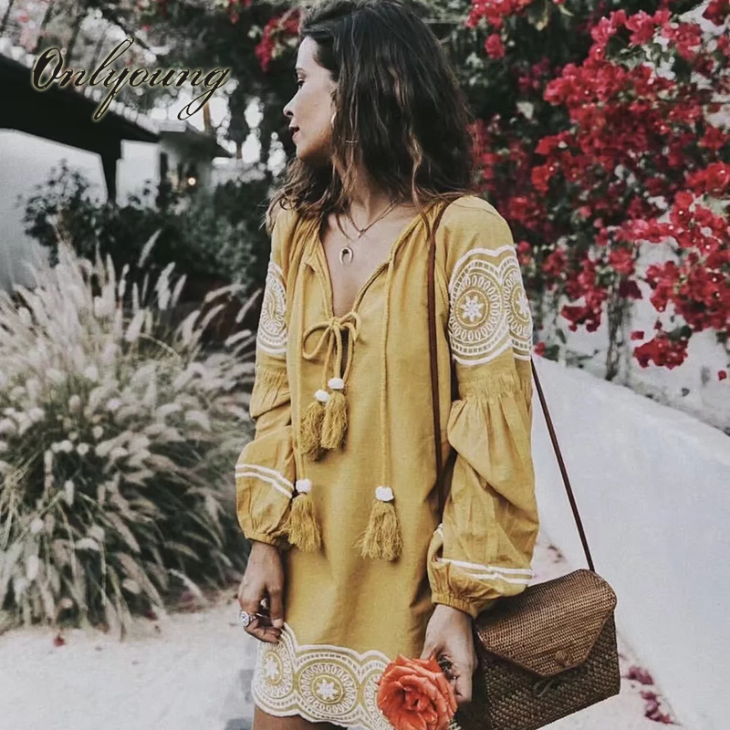 Onlyoung 2017 Autumn Boho Yellow Short Dress Embroidery Long Sleeve Embroidered Lace Up Tassel Vintage Women Dress