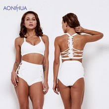 AONIHUA Solid Color Swimming Suit For Women Two Piece High Waist Triangle Body Suits Beach Batching Swim Wear
