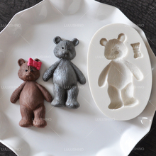 Sugar mould food white silicone baby bear with bow fondant cake decorating tool chocolate soap mould
