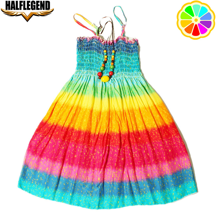 2018 New Summer Bohemian Girls Dress Orange Flower Girls Beach Dresses Princess Dress Cotton dresses for girls 4-10 11 12 Years new summer style girls dresses fashion knee length beach dresses for girls sleeveless bohemian children sundress girls yellow 3t
