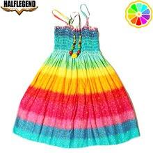 2018 New Summer Bohemian Girls Dress Orange Flower Girls Beach Dresses Princess Dress Cotton dresses for