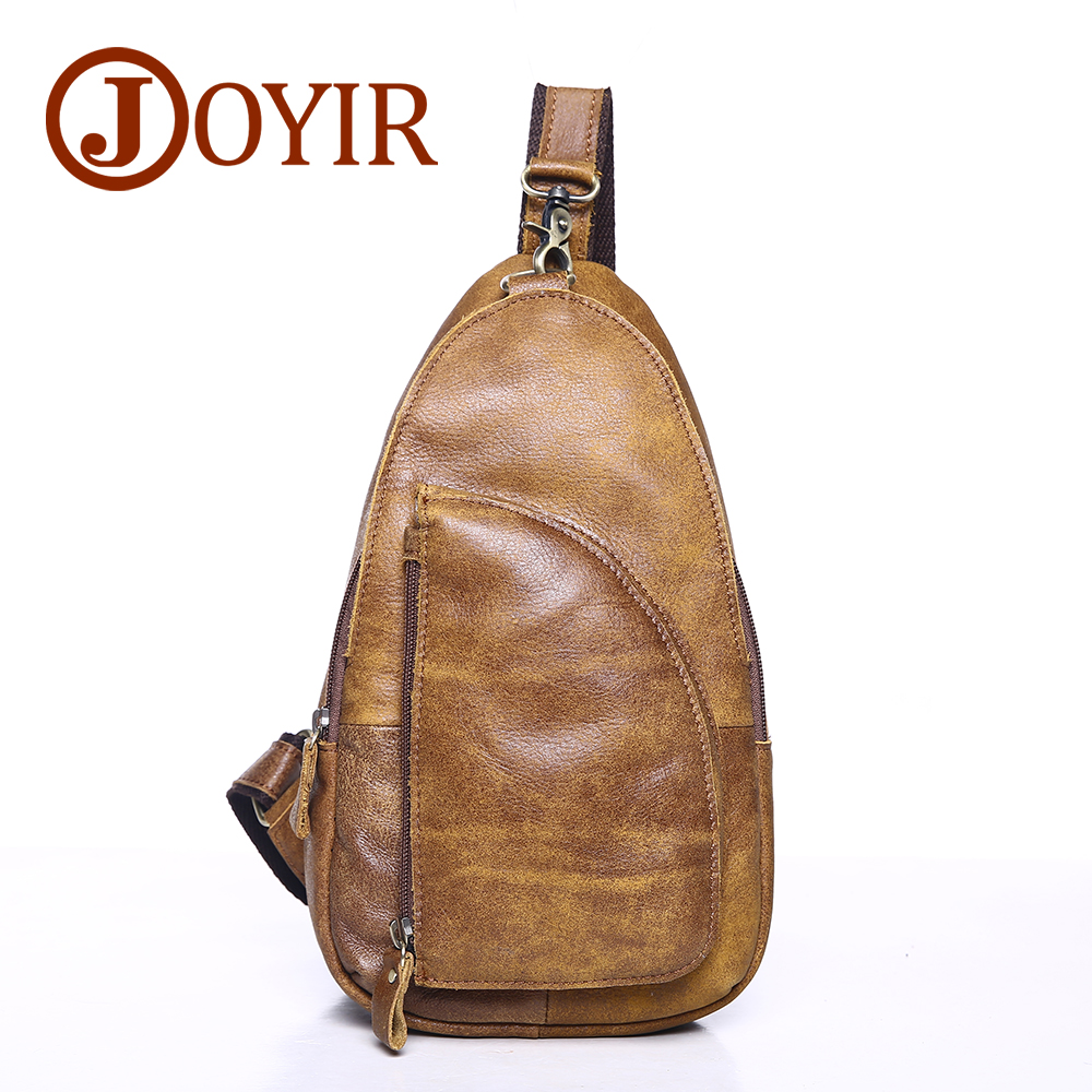 JOYIR Chest Pack Genuine Leather Crossbody Bags Men Brand Small Male Shoulder Bag Vintage Casual Men's Chest bags Messenger Bag augur 2018 men chest bag pack functional canvas messenger bags small chest sling bag for male travel vintage crossbody bag