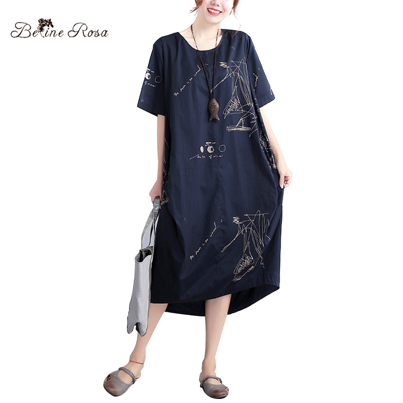 BelineRosa 2017 Summer Dress Shirt Casual Women Women's European Style T-shirt Dresses of the Big Sizes Fit 45 ~ 75 KG HS000247