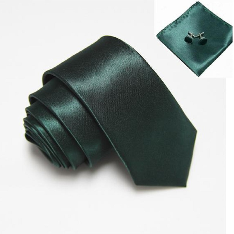 HOOYI 2019 Fashion Solid Men's Slim Neck Tie Set Handkerchiefs Cufflinks Pocket Square 20colors