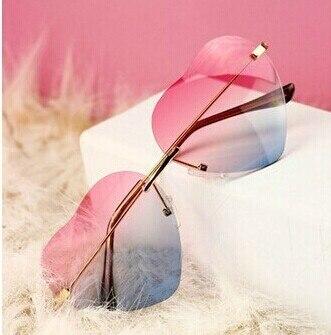 Mulheres pêssego coração óculos de sol sem aro arco-íris gradiente de óculos de sol em forma de coração