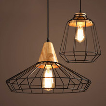 купить Nordic wrought iron cage chandelier loft retro lighting cafe bar restaurant dining room pub clubhouse wine cellar pendant lamp дешево